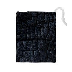 Black Burnt Wood Texture Drawstring Pouches (large)