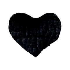 Black Burnt Wood Texture Standard 16  Premium Flano Heart Shape Cushions