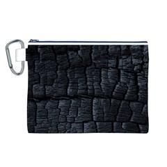 Black Burnt Wood Texture Canvas Cosmetic Bag (l)