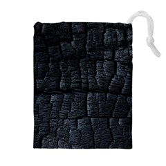 Black Burnt Wood Texture Drawstring Pouches (extra Large)