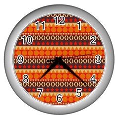 Abstract Lines Seamless Art  Pattern Wall Clocks (silver)