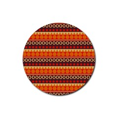 Abstract Lines Seamless Art  Pattern Rubber Round Coaster (4 Pack)