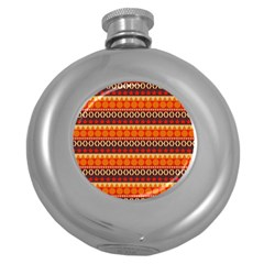 Abstract Lines Seamless Art  Pattern Round Hip Flask (5 Oz)