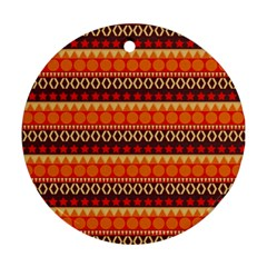 Abstract Lines Seamless Art  Pattern Round Ornament (two Sides)