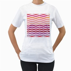 Abstract Vintage Lines Women s T-Shirt (White) (Two Sided)