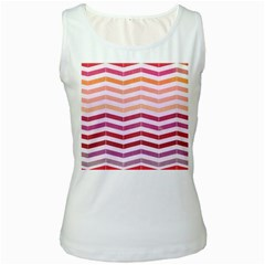 Abstract Vintage Lines Women s White Tank Top