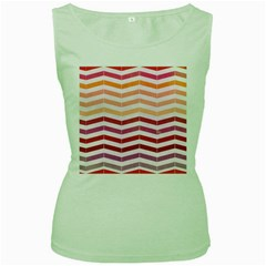 Abstract Vintage Lines Women s Green Tank Top