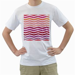 Abstract Vintage Lines Men s T Shirt (white) (two Sided)