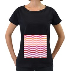 Abstract Vintage Lines Women s Loose Fit T Shirt (black)