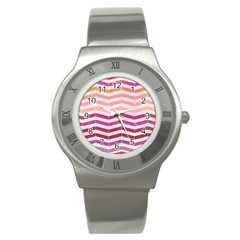 Abstract Vintage Lines Stainless Steel Watch
