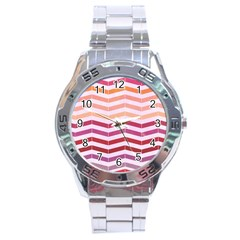 Abstract Vintage Lines Stainless Steel Analogue Watch