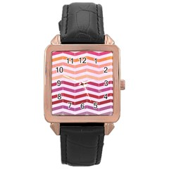 Abstract Vintage Lines Rose Gold Leather Watch