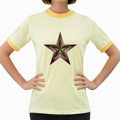Star Abstract Geometric Art Women s Fitted Ringer T Shirts