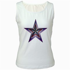 Star Abstract Geometric Art Women s White Tank Top