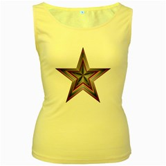 Star Abstract Geometric Art Women s Yellow Tank Top