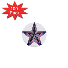Star Abstract Geometric Art 1  Mini Buttons (100 Pack)