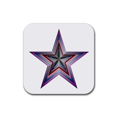 Star Abstract Geometric Art Rubber Square Coaster (4 Pack)
