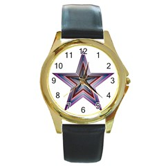 Star Abstract Geometric Art Round Gold Metal Watch