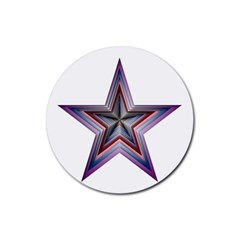 Star Abstract Geometric Art Rubber Coaster (round)