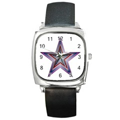 Star Abstract Geometric Art Square Metal Watch