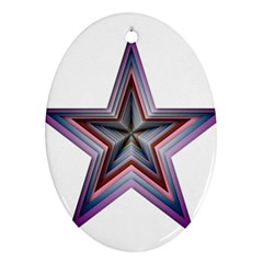 Star Abstract Geometric Art Oval Ornament (two Sides)