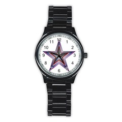 Star Abstract Geometric Art Stainless Steel Round Watch