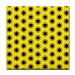 Yellow Fractal In Kaleidoscope Tile Coasters