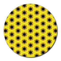 Yellow Fractal In Kaleidoscope Round Mousepads