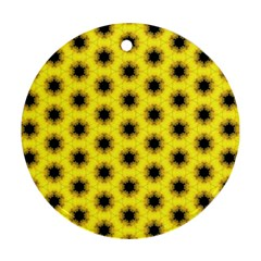 Yellow Fractal In Kaleidoscope Ornament (round)
