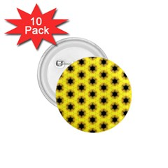 Yellow Fractal In Kaleidoscope 1 75  Buttons (10 Pack)