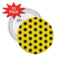 Yellow Fractal In Kaleidoscope 2 25  Buttons (10 Pack)