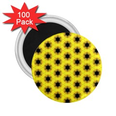 Yellow Fractal In Kaleidoscope 2 25  Magnets (100 Pack)