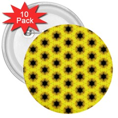 Yellow Fractal In Kaleidoscope 3  Buttons (10 Pack)
