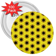 Yellow Fractal In Kaleidoscope 3  Buttons (100 Pack)