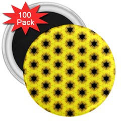 Yellow Fractal In Kaleidoscope 3  Magnets (100 Pack)