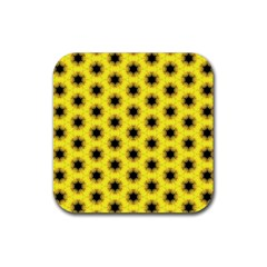 Yellow Fractal In Kaleidoscope Rubber Square Coaster (4 Pack)