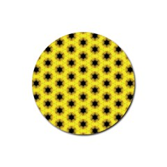 Yellow Fractal In Kaleidoscope Rubber Round Coaster (4 Pack)