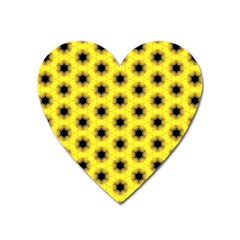 Yellow Fractal In Kaleidoscope Heart Magnet