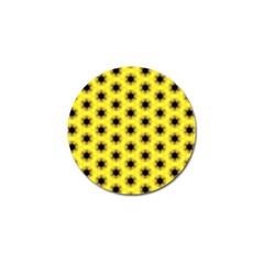 Yellow Fractal In Kaleidoscope Golf Ball Marker