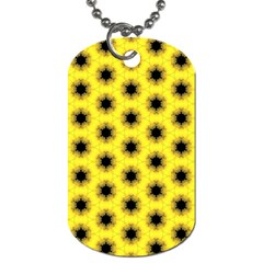 Yellow Fractal In Kaleidoscope Dog Tag (two Sides)