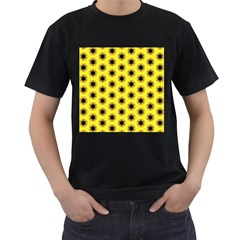 Yellow Fractal In Kaleidoscope Men s T Shirt (black) (two Sided)