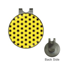 Yellow Fractal In Kaleidoscope Hat Clips With Golf Markers