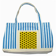 Yellow Fractal In Kaleidoscope Striped Blue Tote Bag