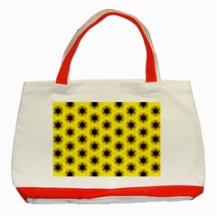 Yellow Fractal In Kaleidoscope Classic Tote Bag (red)