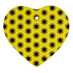 Yellow Fractal In Kaleidoscope Heart Ornament (two Sides)