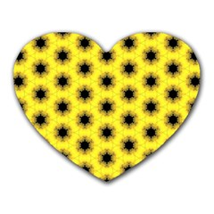 Yellow Fractal In Kaleidoscope Heart Mousepads
