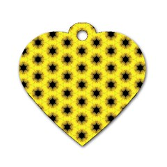 Yellow Fractal In Kaleidoscope Dog Tag Heart (two Sides)