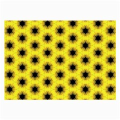 Yellow Fractal In Kaleidoscope Large Glasses Cloth (2 Side)