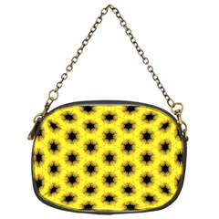 Yellow Fractal In Kaleidoscope Chain Purses (one Side)