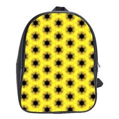 Yellow Fractal In Kaleidoscope School Bags(large)
